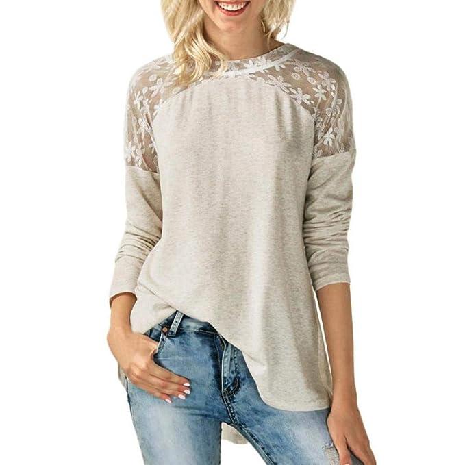 Blusas para Mujer PANY Camisas de Manga Larga Mujeres Tops Blusas Color Sólido Ocio Mujeres Cuello