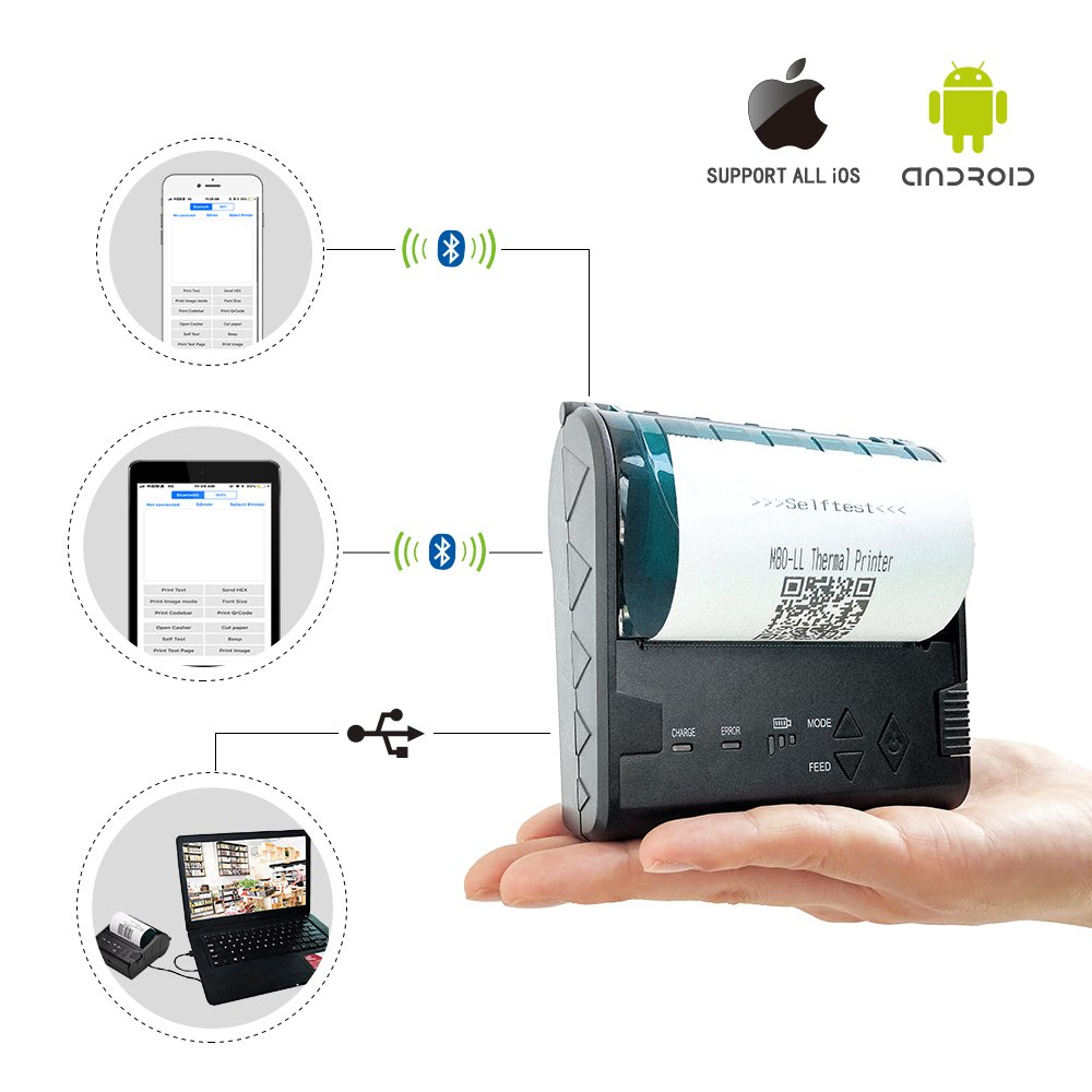 ZKTeco Mini Wireless Bluetooth Printer/Thermal Receipt Printer/Portable Personal Printer,80mm Pocket Mobile POS Compatible with Android & iOS & Windows & Linux Systems and ESC/POS / Star Print Com