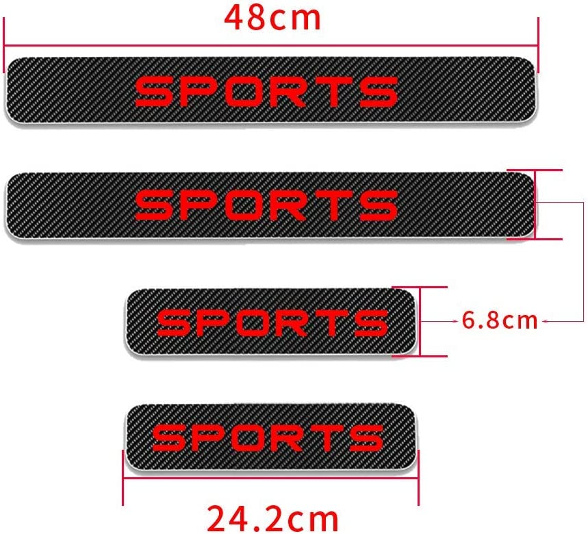 changlaiwang Can be Customized for Volvo XC40 Carbon Fiber Door Sill Protector Anti-Kick Scratch Welcome Pedals Guards Threshold Sticker with Word Sports White 4Pcs
