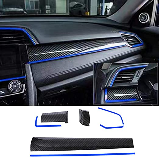 Blue Boltry ABS Engineering Plastics,Carbon Fiber Print Gear Box Trims Shift Panel Transmission Decoration Cover Inner Accessories for Honda 10th Civic 2016 2017 2018 2019 2020