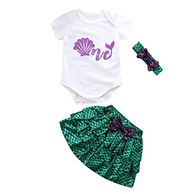 0d9bd36f03bf Amazon.com  Riverdalin Toddler Baby Girl Mermaid Outfit Letter Print Romper  jumpsuit Top +Tutu Skirt +Sequin Hairband Clothing Sets  Clothing