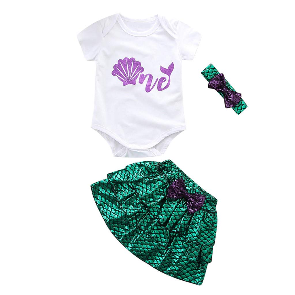 Dirance Summer Baby Infant Girl Letter Print Fish Scales Robe + Short Skirt Hair Band Suit Outfits White