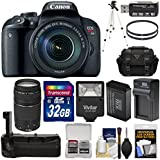 Canon EOS Rebel T7i Digital SLR Camera & EF-S 18-135mm IS STM Lens with 75-300mm III Lens + 32GB Card + Battery & Charger + Grip + Case + Flash + Tripod Kit