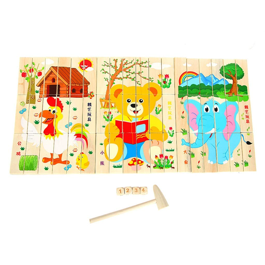 Zxq Colorful Puzzle Building Blocks Infant Intellectual Development Toy 54 Pieces of Domino Wooden Toys (Color : B)