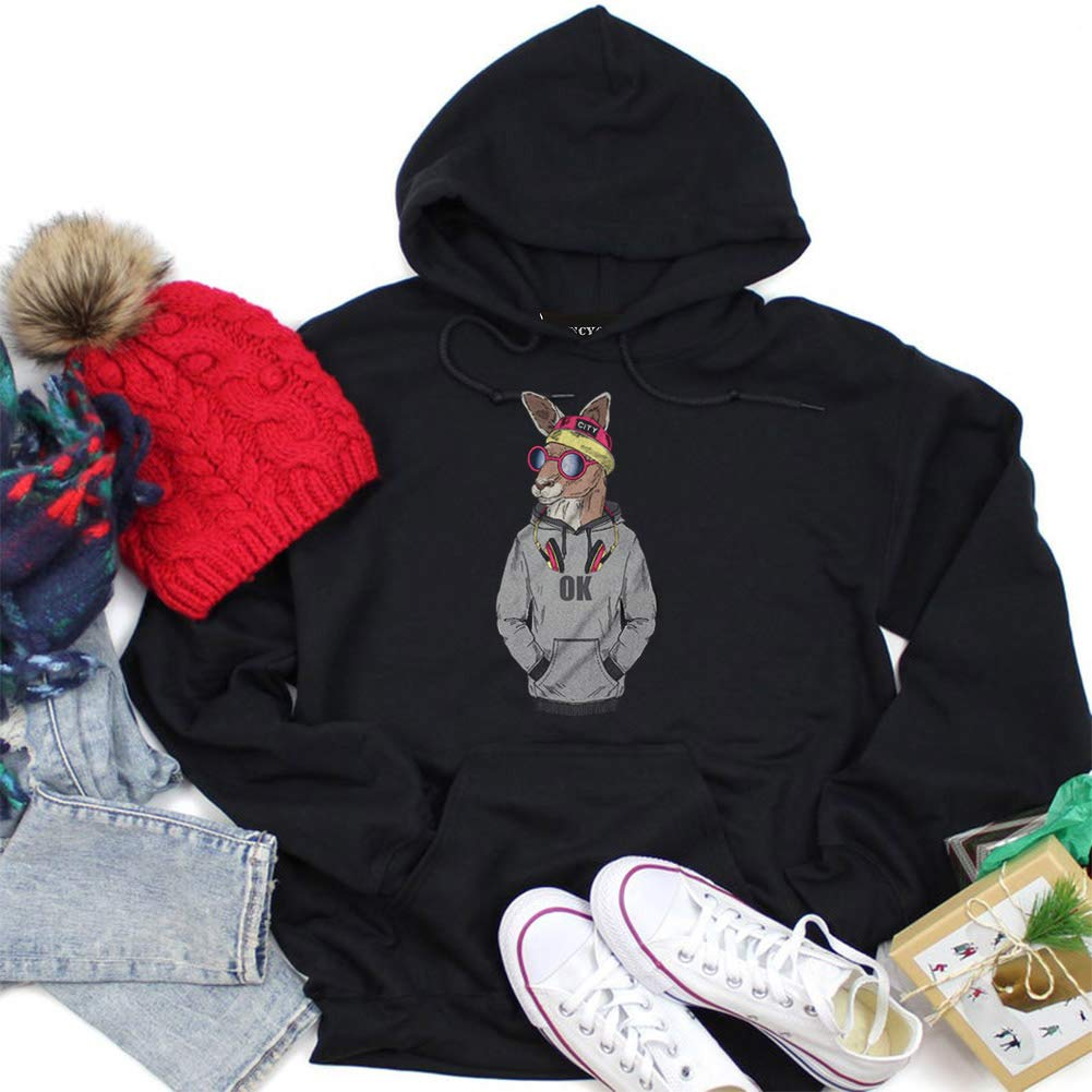 AKlamater Womens Kangaroo Graphic Pullover Hoodies with Pocket Funny Animal Sweatshirts