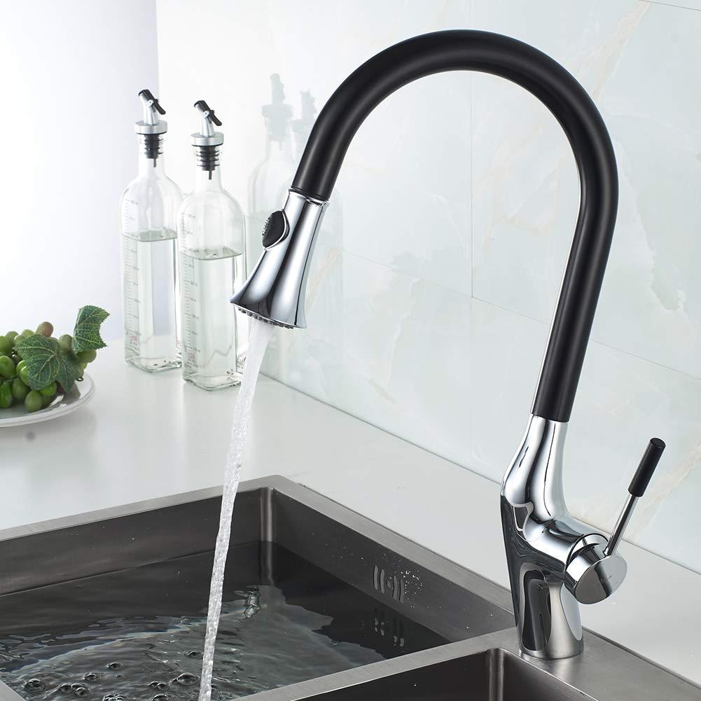 Schwarz Wasserhahn Küche,Momali Küchenarmatur 360°Drehbar Küchenarmatur Einhebel Spültischarmatur für Spüle 3 Funktion,Messing