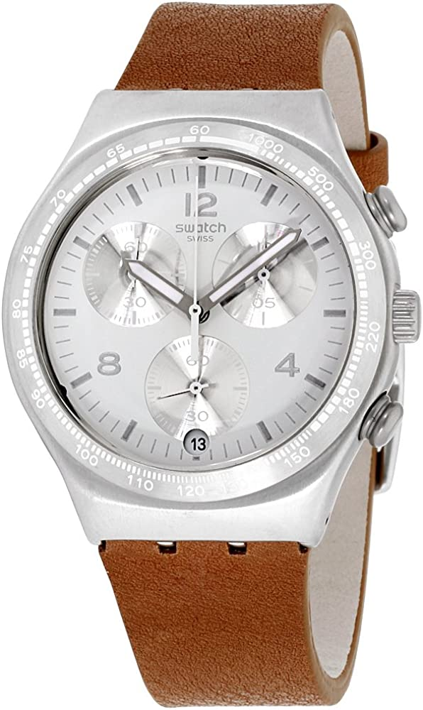 Swatch Irony Botillon White Dial Leather Strap Men s Watch YCS597
