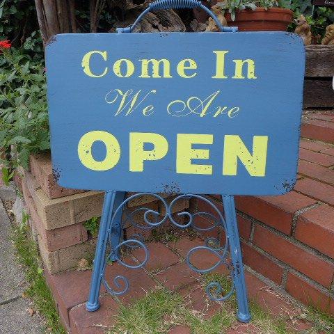 アンティーク調 オープン&クローズスタンド M7042 オープンスタンド アイアン ウェルカムプレート 看板 エクステリア ガーデニング サイン ガー B078MDZBNJ