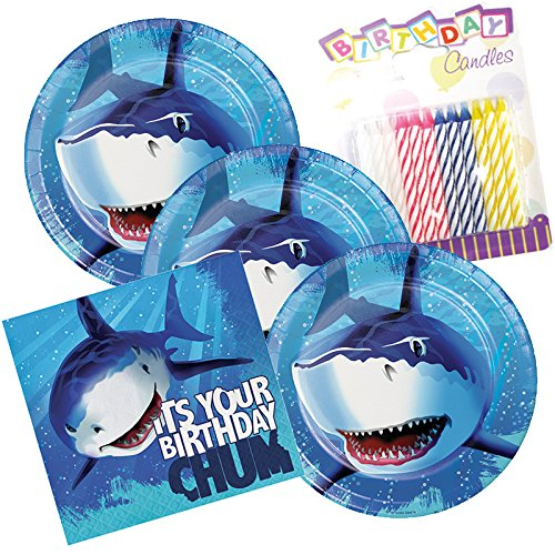 JJ Party Supplies Shark Splash Happy Birthday Theme Plates and Napkins Serves 16 With Birthday Candles -