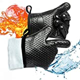 Gold Meier BBQ Grilling Gloves, Heat Resistant Waterproof Gloves Silicone Oven Mitts Kitchen Five Finger Gloves