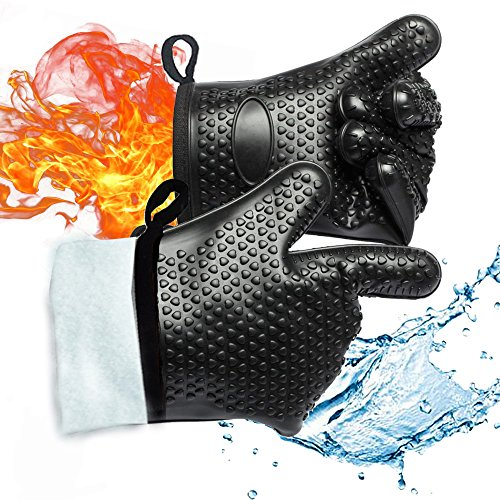 Gold Meier BBQ Grilling Gloves, Heat Resistant Waterproof Gloves Silicone Oven Mitts Kitchen Five Finger Gloves by Gold Meier