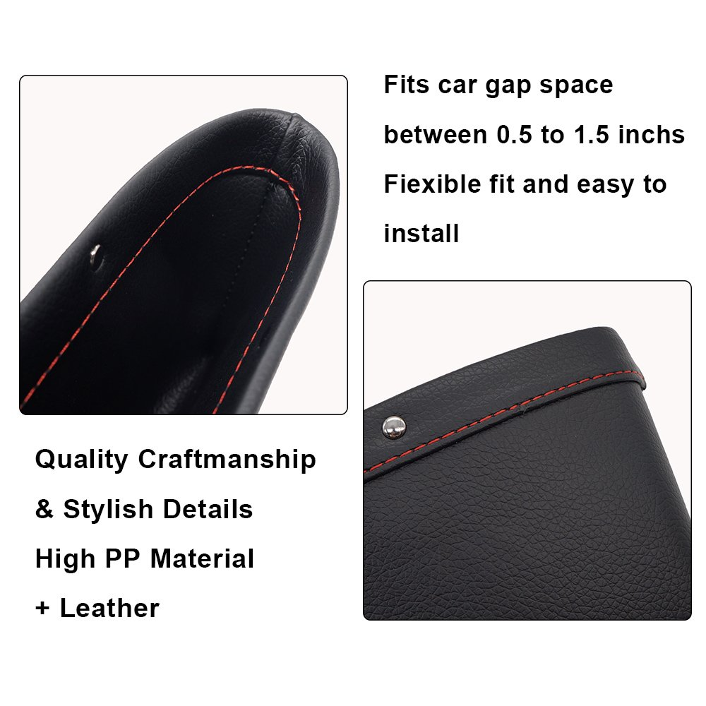 LOCEN Premium PU Leather Car Seat Gap Filler Catch Side Pocket Organizer set of 2 Black