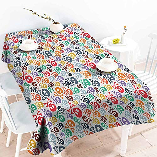 EwaskyOnline Spill-Proof Table Cover,Skull Halloween Themed Colorful Skulls and Crossbones Funny Cartoon Style Pattern Print,High-end Durable Creative Home,W60x120L, Multicolor]()