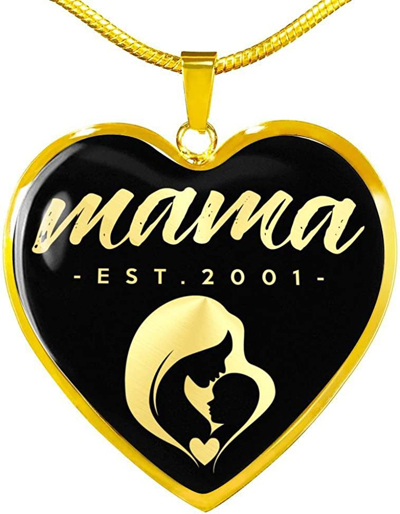 Est 2001 v2-18k Gold Finished Heart Pendant Luxury Necklace Unique Gifts Store Mama