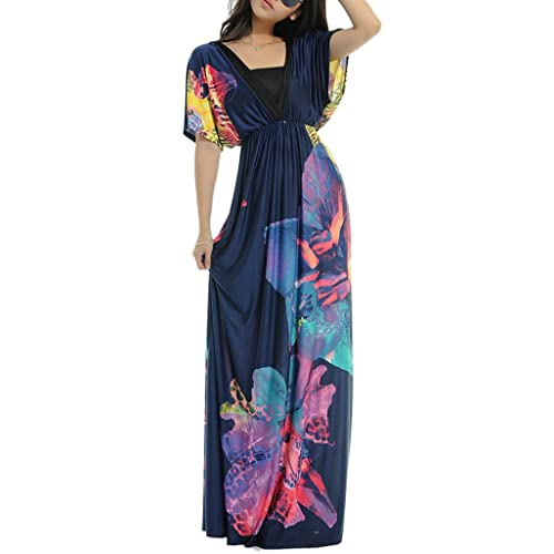 Wantdo Womens Summer Dress Boho Bohemian V Neck Beach Women Dress Maxi Dress Plus Size