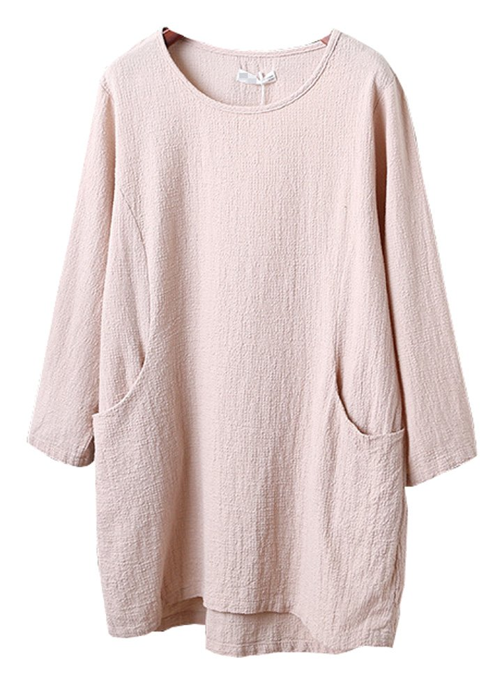 Minibee Women's Cotton Linen 4/5 Sleeve Tunic/Top Tees Apricot L