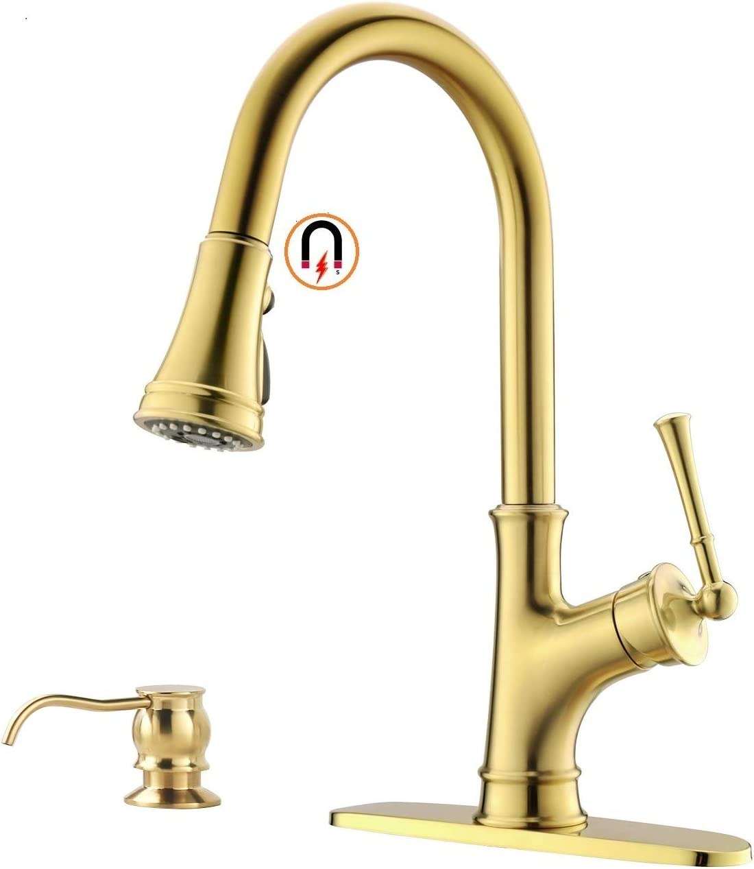 Gold Kitchen Faucet with Pull-Down Magnetic Docking Sprayer,