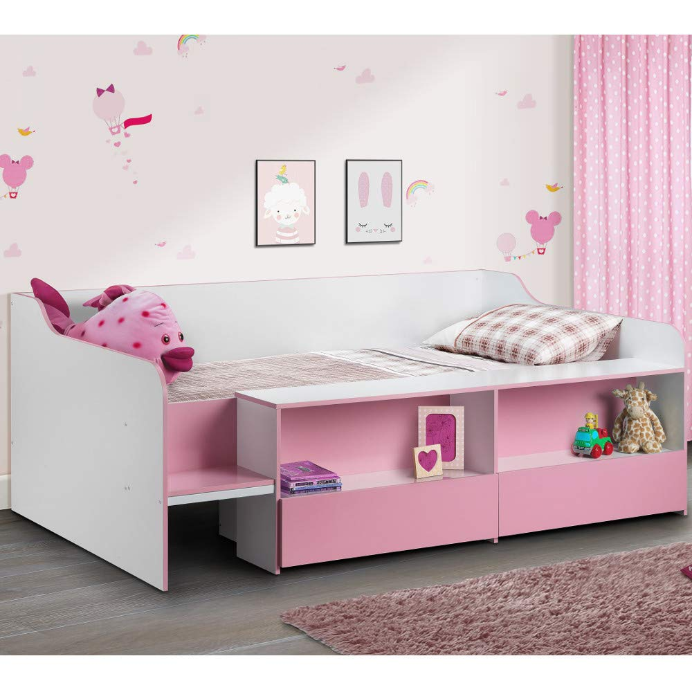 Pink 3FT - Frame Only Kids Low Sleeper Bed, Happy Beds Stella Charcoal Grey White Multicolour Wood Modern Storage Drawer Shelf Bed Frame - 3ft Single (90 x 190 cm) with Memory Foam Mattress Included