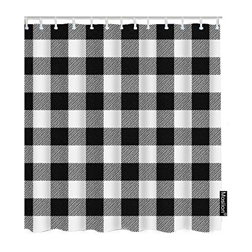 Moslion Plaid Bathroom Shower Curtain Set Vintage White Black Gingham Checkered Tartan Buffalo Check Shower Curtains Home Decorative Waterproof Polyester Fabric Hooks 66x72 Inch