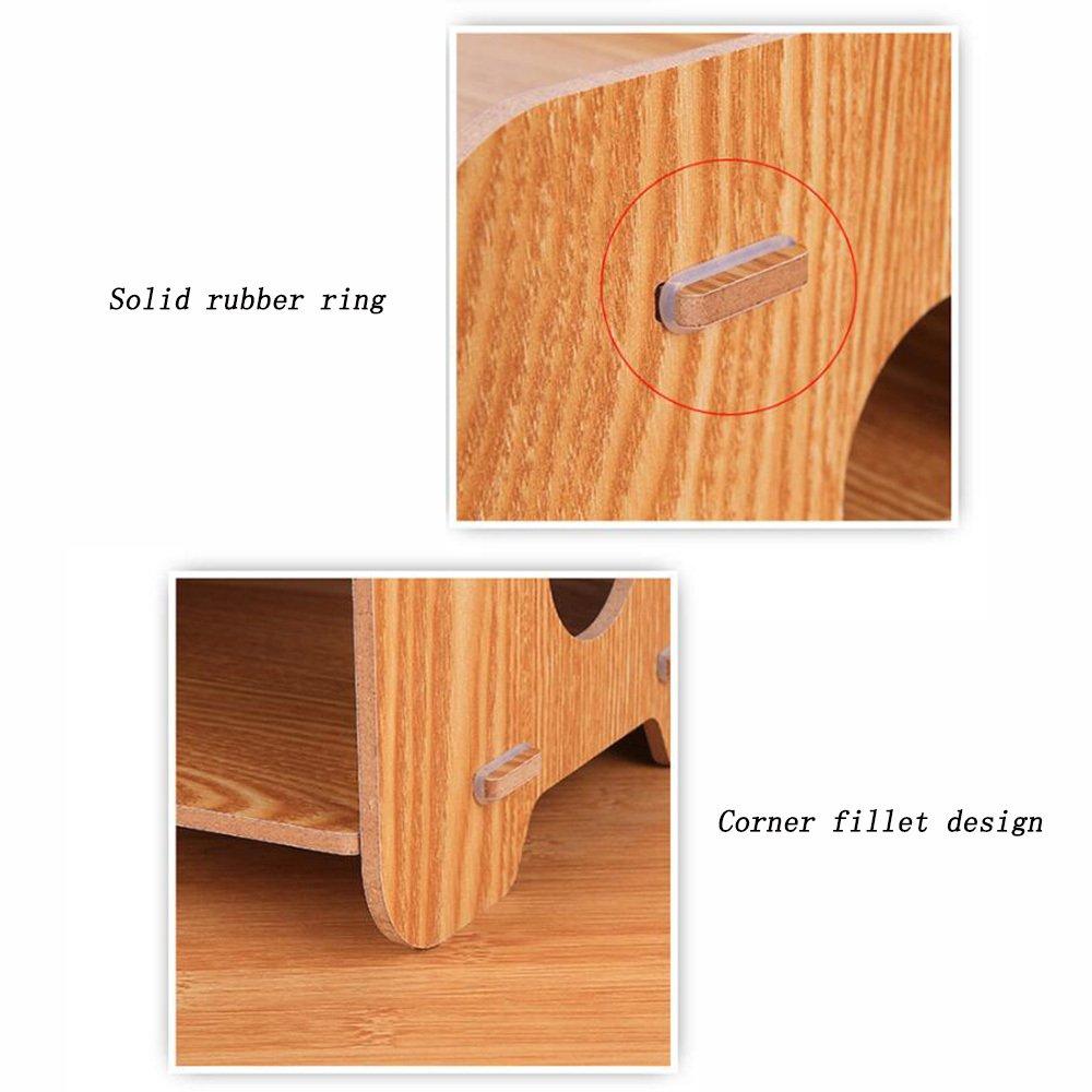Bookcase Thick Wooden Desktop Storage Box Storage File Holder Multi-Layer Data Bookshelf Office Supplies Storage Box,WoodColor by ANHPI-bookcase (Image #4)