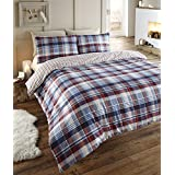 Angus Flanelette Super King Size Quilt Duvet Cover and 2 Pillowcase Bedding Bed Set, Tartan Check Blue - Red/White/Navy by Angus