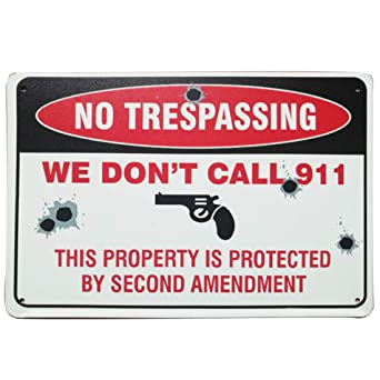 Protected By The Lord  and This Gun.Tin Sign. No trespassing