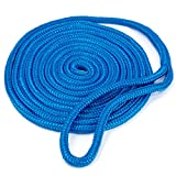 """Crown Sporting Goods Blue 15' Double-Braided 3/8"""" Thick Nylon Dockline"""