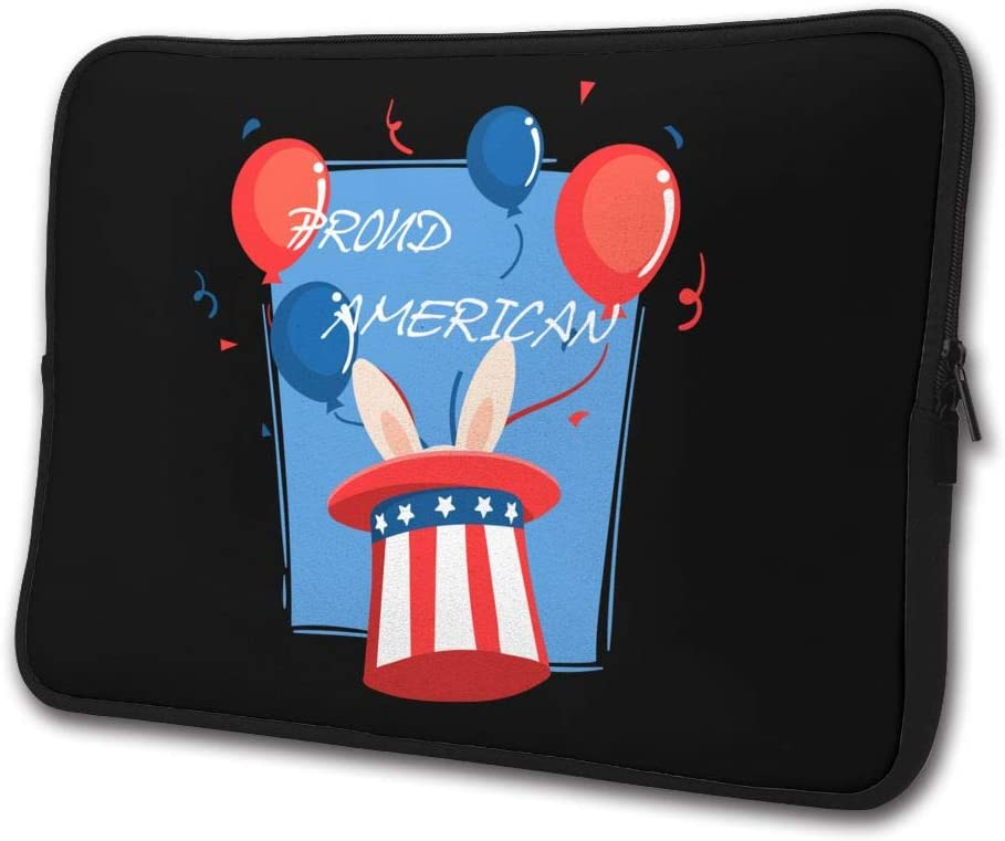 Yongchuang Feng Proud American Pride Red White Blue Bunny Sleeve Laptop Bag Tablet Case Handbag Notebook Messenger Bag for Ipad Air MacBook Pro Computer Ultrabook 13-15 Inches