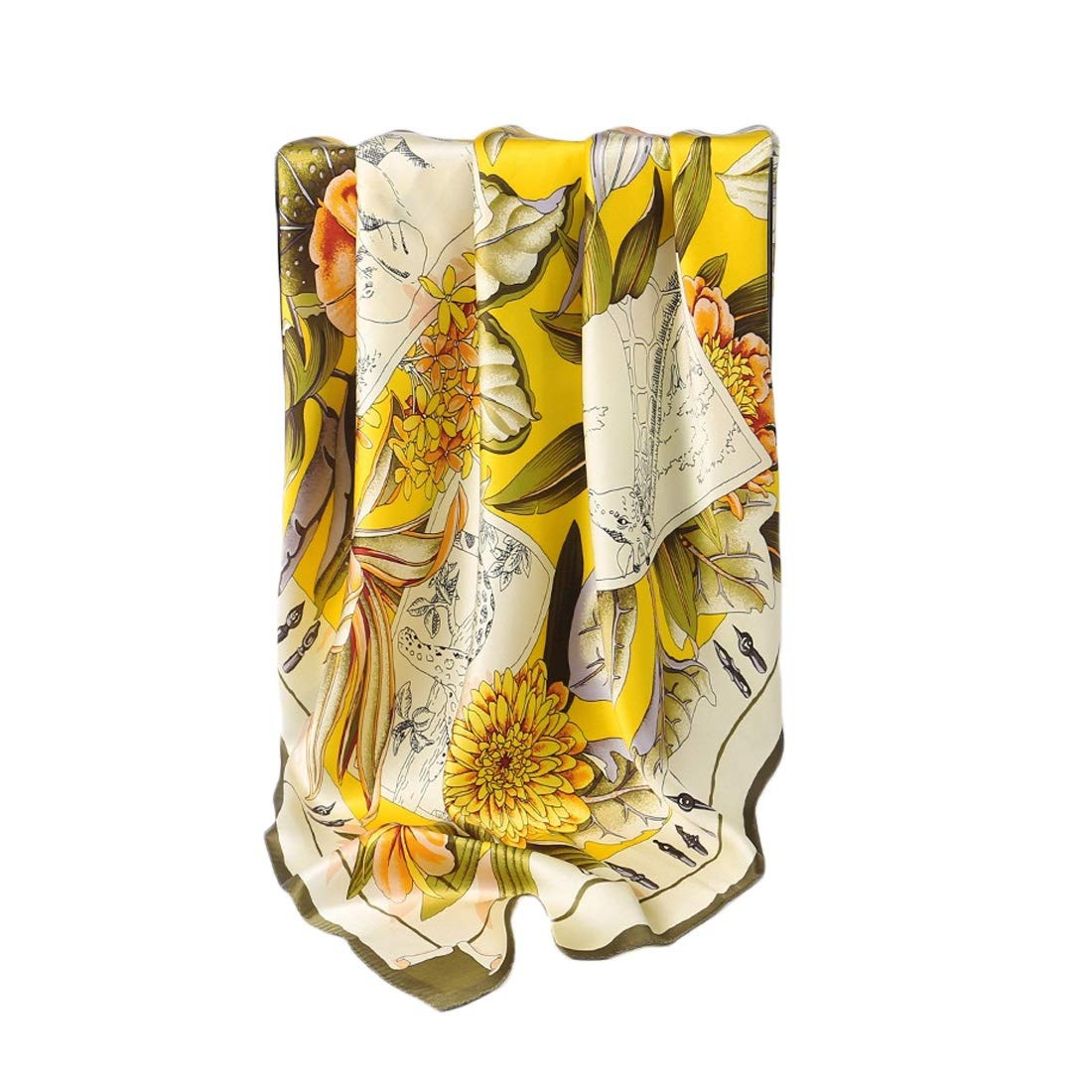 1 KERVINJESSIE Silk Scarf Spring Summer and Autumn Satin Silk Print Long Scarf (color   2, Size   175x52CM)
