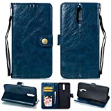 Ostop Huawei Mate 10 Pro Leather Wallet Case,Navy Blue Classic Oil Wax PU Stand Purse Credit Card Slots Holder Flip Stylish Simple Cover Retro Metal Clasp Huawei Mate 10 Pro