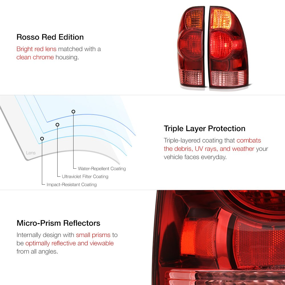VIPMOTOZ Red Lens OE-Style Tail Light Lamp Assembly For 2005-2015 Toyota Tacoma Pickup Truck Driver /& Passenger Side