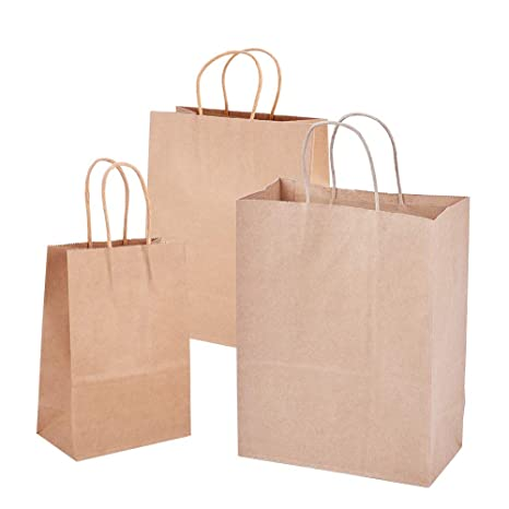 BENECREAT 30 Pack Bolsas de Regalo de Papel Kraft con Asas Compras, Mercancía,, Fiesta, Boda, Papel 100% Reciclado Marrón Natural 3 Tamaños Mixtos