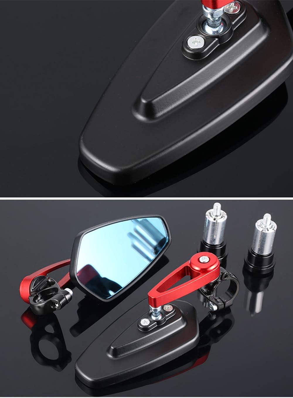 ViZe 7//8 22mm R/étroviseurs Moto Embout de Guidon Lat/éraux Miroir Arri/ère Universel Miroir Motif Rouge-bleu