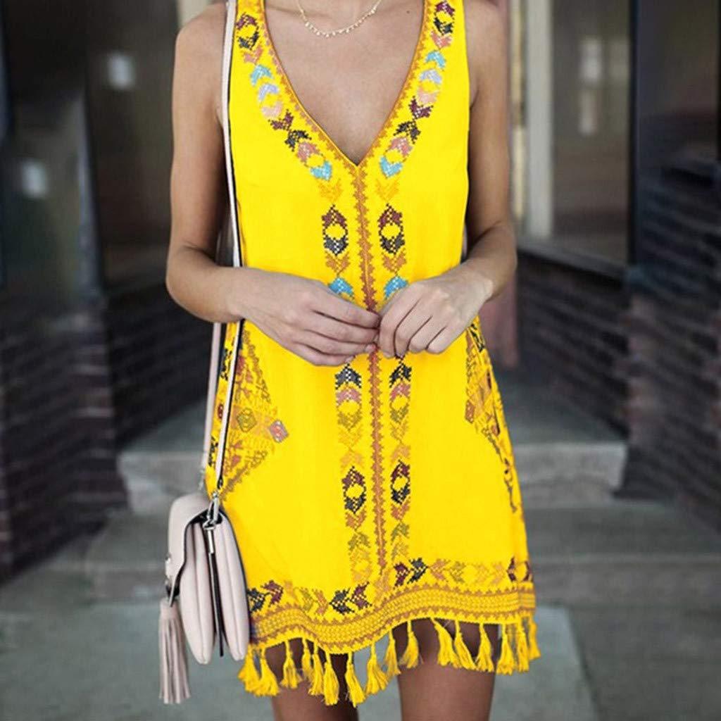 Sunyastor Womens Dresses Summer V-Neck Sleeveless Bohemia Tassel Casual Midi Dress Printed Beach Maxi Dress