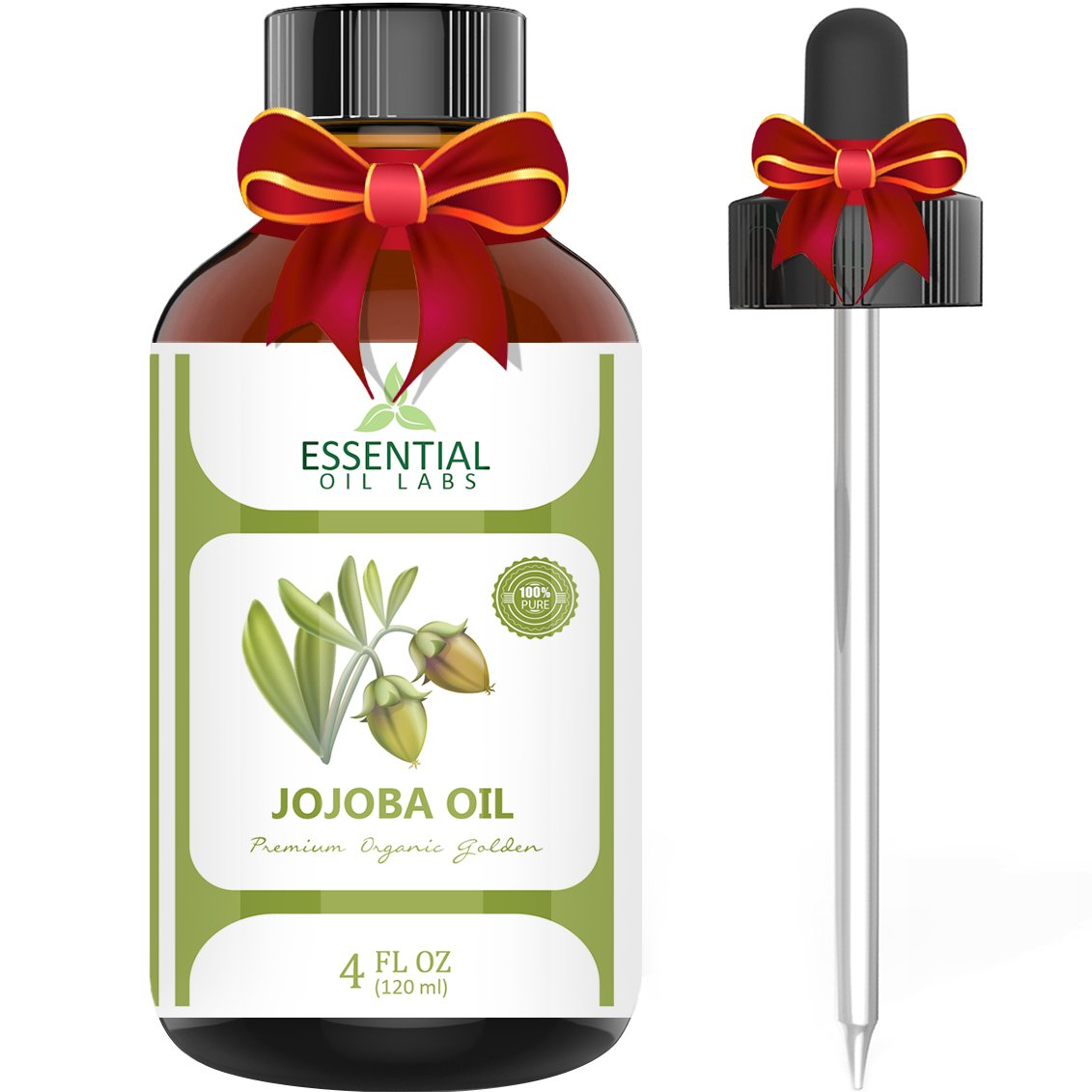 Jojoba Oil - 100% Pure and Organic - 4 Oz. with Glass Dropper - Incredible Moisturizer - Excellent Carrier Oil - Beauty in a Bottle by Essential Oil Labs by Essential Oil Labs