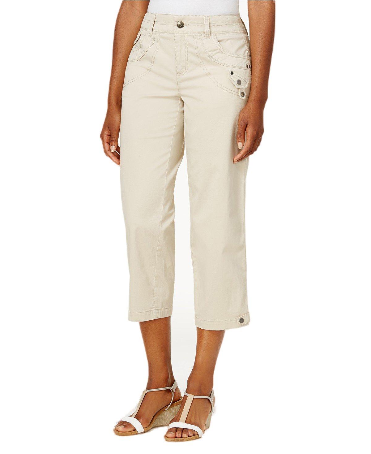 Classic Tab-Pocket Capri Pants (Stonewall, 8)
