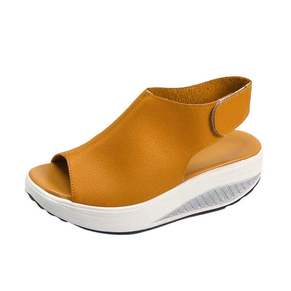 ★QueenBB★ Women's Platform Heeled Leather Comfort Fish Mouth Peep Toe Walking Wedges Sandals Brown