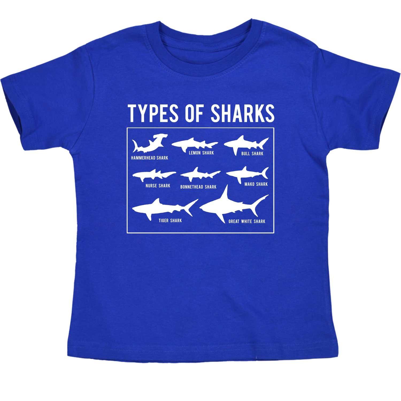 Types of Sharks Chart Hammerhead Great White Ocean Novelty-Toddler T-Shirt