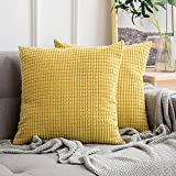 MIULEE Set of 2 Comfortable Soft Big Corn Corduroy Cushion Cover Case Pillowcases Decorative Square Throw Pillow Case Protectors for Home Decorating Bedroom Living Room 18x18 Inches Yellow