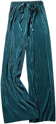 Emerayo Women's Casual Elastic Waist Pants Loose Wide-Leg Pleated Pants Slacks Velvet Pants