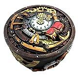Round Steampunk Gearwork Time Waits for No Man Jewelry Box Trinket Figurine