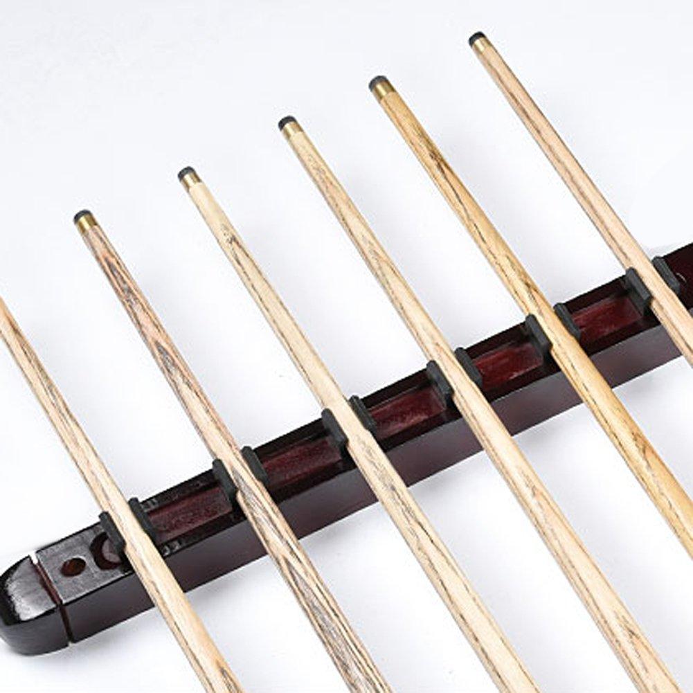 Mojoyce Billiard Pool Wall Mount Hanging 6 Cue Sticks Wood Rack Holder for Snooker