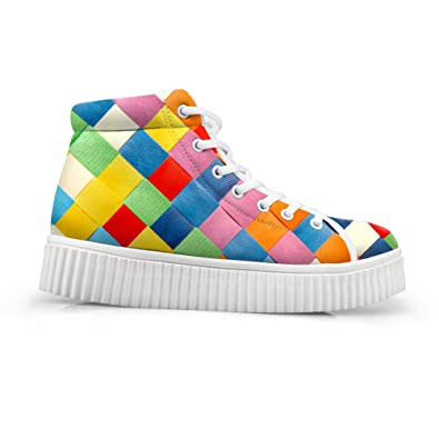 347b23dcefa HUGS IDEA Classic Checked Women High Top Shoes Casual Platform Sport  Sneakers for Teen Girls US5