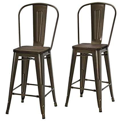 Retro Style Metal Dining Chairs Durable Wood Seat Study Steel Frame  Industrial Counter Vintage Stool Cafe
