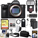 Sony Alpha A7R III 4K Wi-Fi Digital Camera Body with 128GB Card + Battery & Charger + Case + Strap + Tripod + Flash & LED Video Light Kit