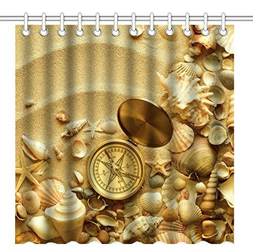 Wknoon 72 x 72 Inch Shower Curtain, Vintage Gold Compass Sea Shell on Sandbeach, Waterproof Polyester Fabric Decorative Bath Curtains (Shell Vintage Buttons)
