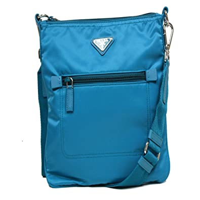 786ada491b Prada Turquoise Blue Tessuto Nylon Leather Cross Body Messenger Bag BT0716