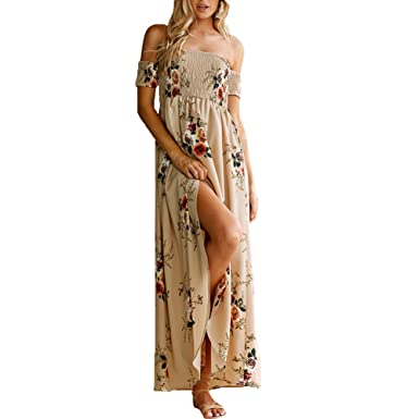fccd951c4e7 Romacci Women Boho Maxi Dress Off Shoulder Floral Print Split Summer Beach  Holiday Long Dress White/Burgundy/Beige: Amazon.co.uk: Clothing