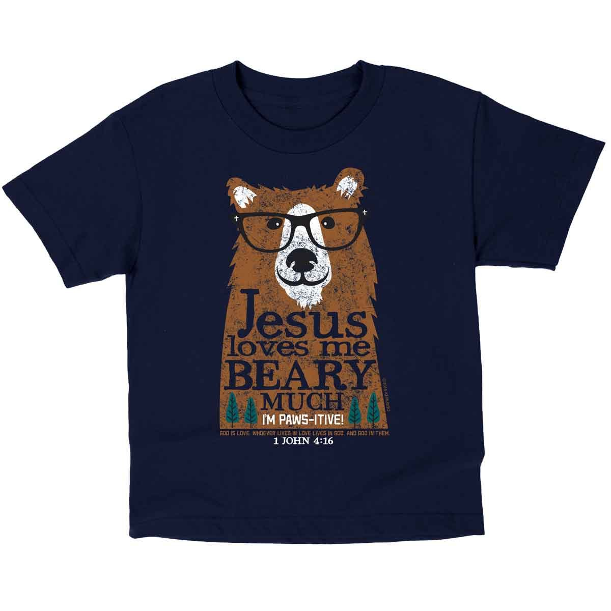 Jesus Loves Me Beary Much, Kidz Tee, 5T, Navy - Christian Fashion Gifts