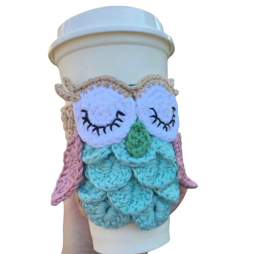 TINTON LIFE Super Cute Reusable Handmade Coffee Cup Sleeve Cup Sweater(Owl)